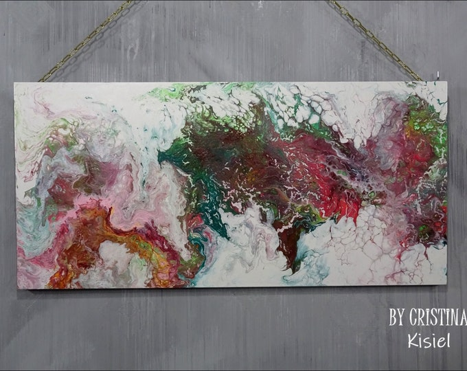 Fluid art painting, Pouring art on a wooden board, Abstract fluid art painting, Fluid art decorative painting 80 x 40 cm