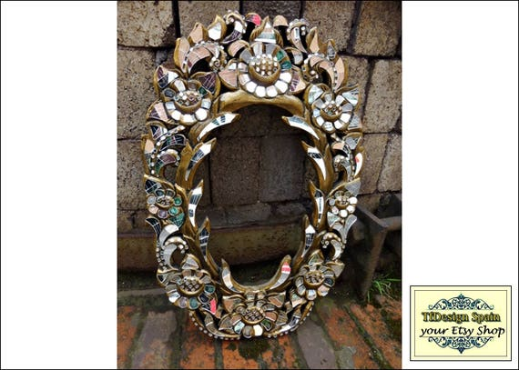 Mosaic frame mirror, Mirror frame mosaic, Mirror frame ideas, Mirror mosaic wall art, Mirror mosaic piece, Mirror mosaic wooden frame gold
