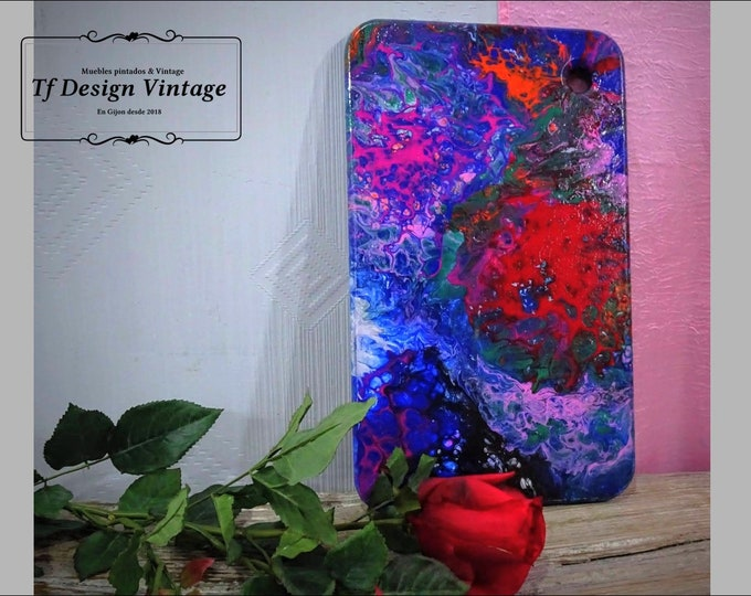 Picture fluid art for Kitchen, Cutting board painted with pouring art, Decorative cutting board, Kitchen pouring table, Kitchen decoration