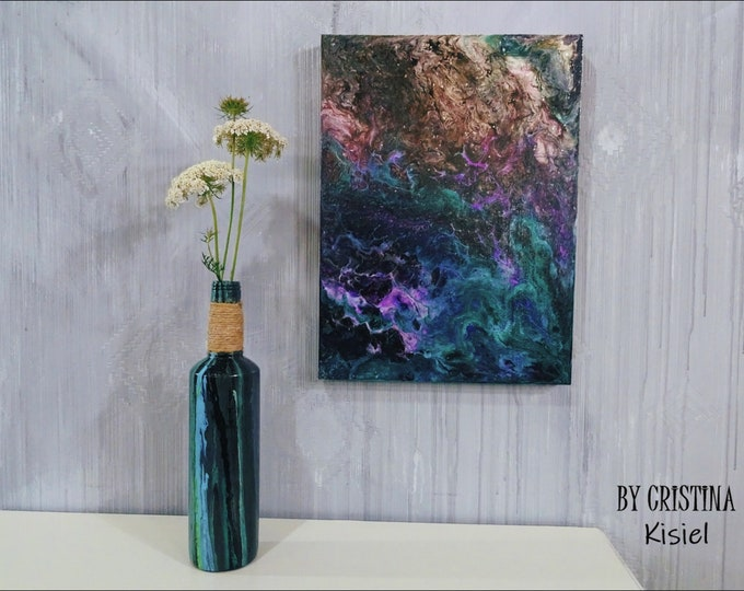 Abstract Art Decorated Bottle, Pouring Fluid Art Bottle, Painted Fluid Art Style Bottle, Abstract Art Decorative Bottle, Hand painted vase