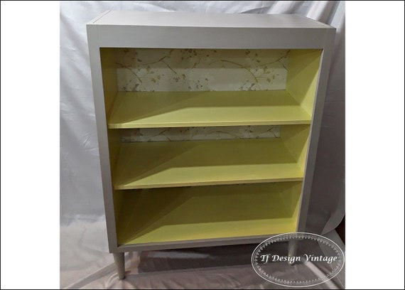 Bookshelves Scandinavian style, Small shelves, Yellow furniture, Shelving unit, Wood shelves, Shelving unit with conical legs, Small library