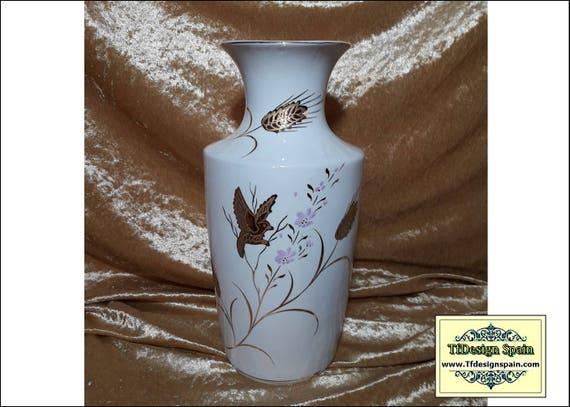 Porcelain Vase White, Porcelain birds vase, Porcelain vase with gold trim, Porcelain vase Etsy, Porcelain vase gift, Vintage porcelain vase
