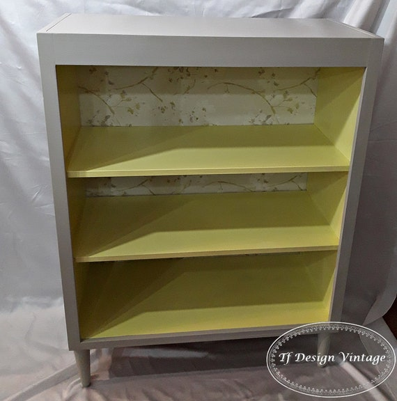 Scandinavian style furniture, Small shelves, Yellow furniture, Shelving unit, Wood shelves, Shelving unit with conical legs, Small library