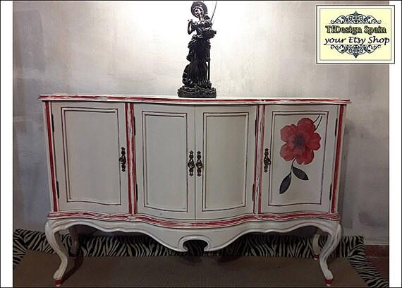 Consola blanca con puertas, Consola blanca vintage, Muebles blancos, Mueble entrada blanco, Mueble blanco poco fondo, Consola vintage