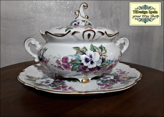 Tureen soup set, Soup tureen dinnerware, Soup tureen white and violet, Classic tureen soup, Soup tureen centerpiece, Soup tureen NEVER USED!