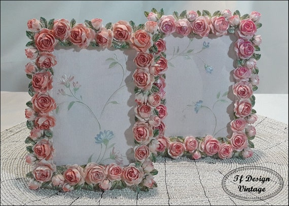 Shabby chic photo frames, 9 x 13 cm photo frames, Photo frame with roses, Floral photo frame, Girls photo frame, Baby photo frame
