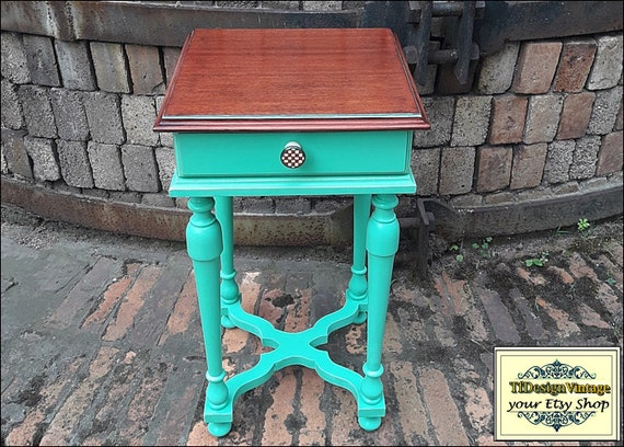Side table, Bedside table, Side table small, Side table wood, Side table for sofa, Side table turquoise, End table small, End table vintage