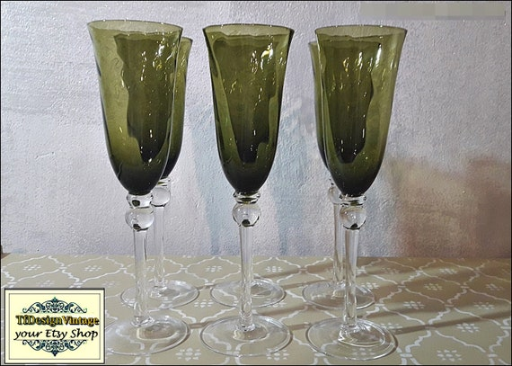 Champagne glasses, Champagne glasses flute, Champagne glasses gift ,Champagne glasses in green,Set of 6 champagne glasses, Champagne flutes