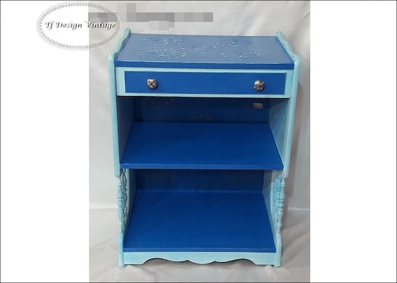 Side table with drawer, Vintage style blue table, Hand painted furniture, Vintage table, Corner table, Blue bedside table, Nightstand blue