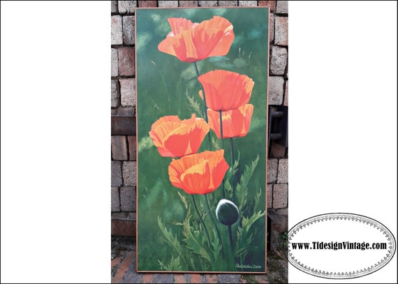 Picture with flowers, Picture of poppies, Framed and varnished Christian Sommer's painting, Floral painting, Poppies painting, Poppies print