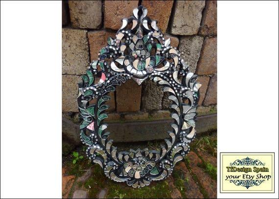 Mosaic frame mirror, Mirror frame mosaic, Mosaic mirror frame idea, Mirror mosaic wall art, Mirror mosaic, Mirror mosaic wooden frame black