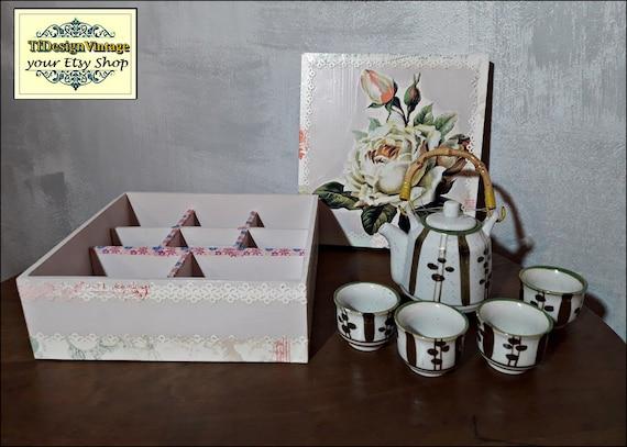 Oriental tea set, Teacups teapot set, Tea cup set gift, Chinese tea cup set, Porcelain tea cup set, Tea cup set in wooden box, Never used!!!