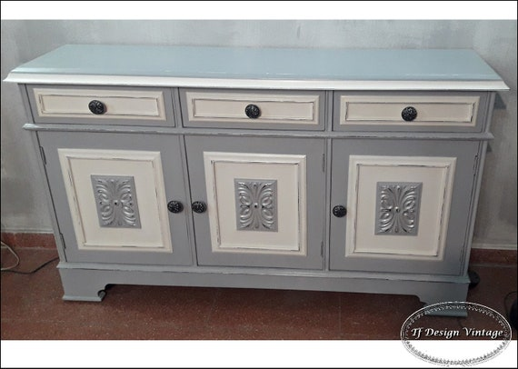 Entryway cabinet with doors and drawers, Console in grey and white, Entryway furniture, Shoes storage cabinet, Painted vintage furniture