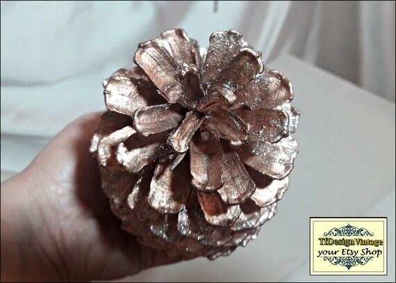 Decorated pine cones, Copper pine cones, Christmas ornaments, Christmas pine cones, Xmas ornaments in copper, Set of 4 pine cones XL size