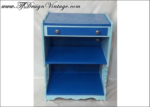 Mesa auxiliar con cajón, Mesa azul estilo vintage, Muebles pintados a mano, Mesa vintage, Mesa rinconera, Mesita de noche azul, Mesa sofá