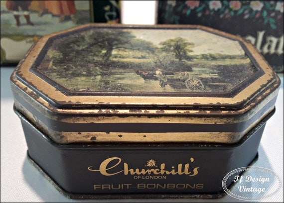 Churchills Fruit Bonbons Tin can, Old masters Collection, John Constable paint, Collectible Churchills fruit bonbons tin can,Vintage tin can