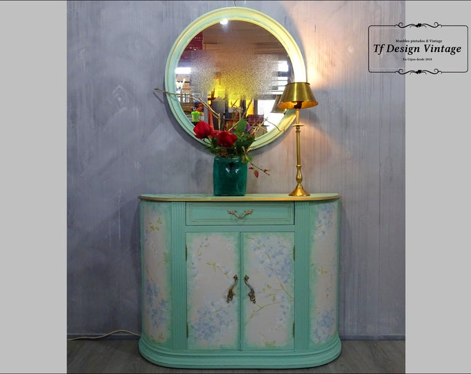 Hallway unit with mirror, Small shoe cabinet, Hallway cabinet with doors, Entrance set, Original aquamarine cabinet, Small shoe cabinet