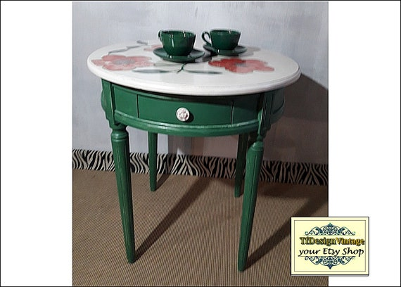 Round wood table, Round wood coffee table, Round wood end table, 65 cm round wood table, Round wood table painted, Round wood table green