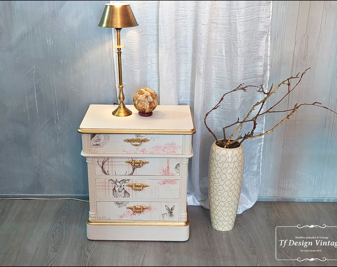Wooden side cabinet, Painted table with 3 drawers, Wooden sofa table, Wooden auxiliary furniture, Boho chic corner table,