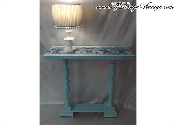 Console table, Console table decor, Console table blue, Wood console table, Entryway furniture, Console table vintage, Blue paint furniture