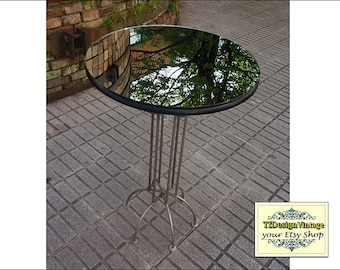 Round table mirror top, Round side table with mirror top, 50cm round mirror table top, Round end table mirror top, Mirror top coffee table