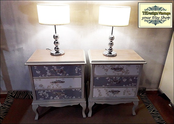 Set of 2 Bedside tables, Nightstands vintage, Nightstands with drawers, Nightstands shabby chic, Nightstands in grey, Wooden nightstands