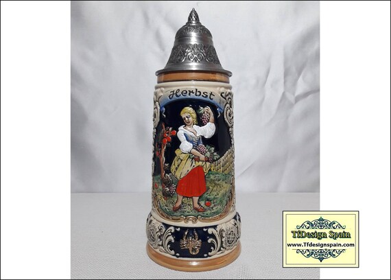 Beer Stein, Four Seasons Series Fall Beer Stein, Beer stein for sale, Beer stein with lid, Beer stein from Germany, German beer mugs limited