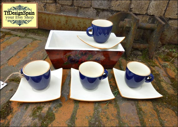 Coffee set cups, Porcelain coffee cups set, Coffee set blue, Coffee cups small, Coffee cups dark blue, Coffee cups original gift