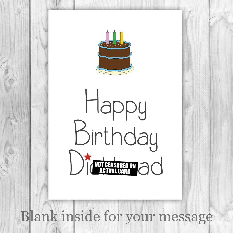 rude birthday card happy birthday dckhead card  etsy