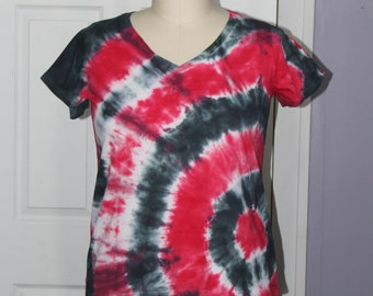 206fc3d19fd Tie dyed black and red plus size v-neck t-shirt