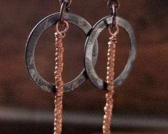 Copper bead and oxidized bronze hoop earrings