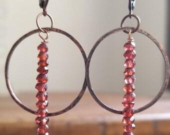 Garnet and copper hoop earrings