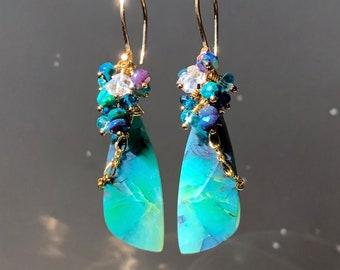 Ocean Blue Opalized Wood & Black Ethiopian Welo Opal Cluster Earrings in 14K Gold Filled, OOAK Lightweight Dangle Earrings,Exquisite Jewelry