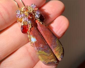 OOAK Opalized Wood & Multi Color Gemstone Cluster Earrings in 14K Gold Filled, Red Lightweight Statement Drop Earrings, Exquisite Jewelry