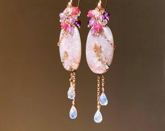 OOAK Apple Valley Agate & Moonstone Ruby Amethyst Cluster Earrings 14K Rose Gold Filled, Long Gemstone Dangle Earrings, Unique Gift for Her