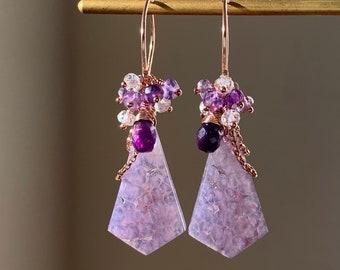 Dreamy Lavender Purple Grape Agate & Multicolor Amethyst Gemstone Cluster Earrings in 14K Rose Gold Filled, Lightweight Statement Earrings