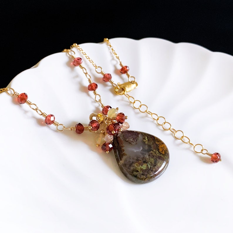 Natural Moroccan Apple Valley Agate /& Red Garnet Cluster Charm Necklace in 14K Gold Filled Artisan January Birthstone Jewelry Gift for Mom