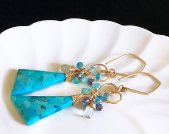 Natural Blue Mohave Turquoise Dangle Drop Earrings with Little Wire Heart Charm, Long Boho Luxe 14K Gold Filled Gemstone Cluster Earrings