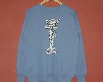 Vintage LADY LUCK Rat Fink Ed Big Daddy Roth 1990 Sweatshirt size Medium / 90s Cartoon character classic artist pullover /  Winter crewneck