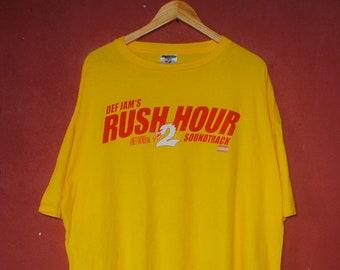5099d5b34147ed Vintage Def Jam Rush Hour 2 Soundtracks Promo T shirt X-Large   R B hip hop  rapper Ludacris Method Man Nate Dogg rap OST movie tee