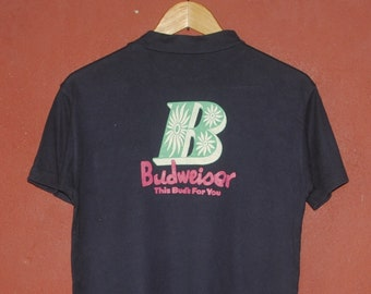 97bc50892f2 Vintage BUDWEISER 1980s Beer promo T shirt size Small / Medium / 80s  Classic Iron On Beer Weed Pot hippie advertising Front pocket tee