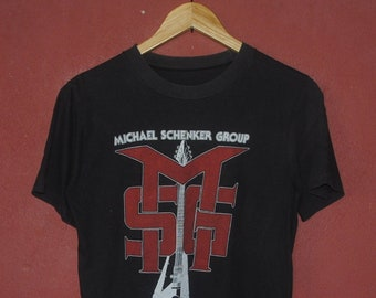 363674f14d9 Vintage 1980 Michael Schenker Group MSG Promo T shirt size Small   80s  American Heavy Metal Hard Rock band Scorpions UFO tee Shirt