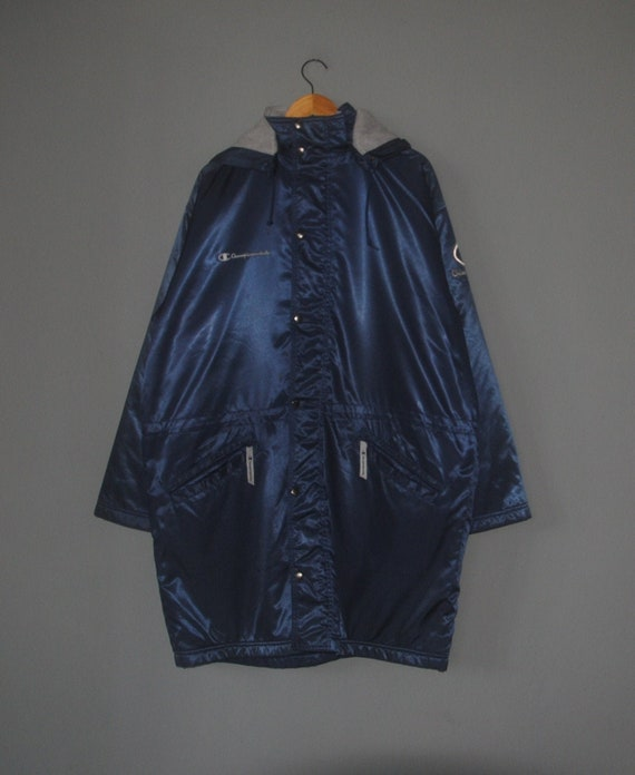 Vintage CHAMPION Long coat Jacket Hoodie 1990s Win