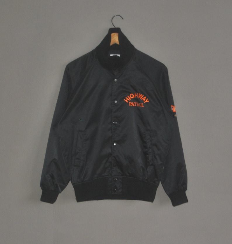 Vintage DESCENTE 90s Japanese Highway Patrol varsity Jacket size S-M  80s 90s Japan patrol Police Baseball Satin Jacket