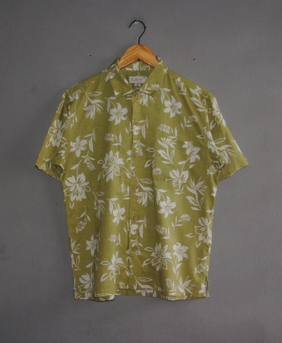 Vintage PUCAT Resort Wear Hawaiian mens button down shirt Large 1990s Classic traditional Hawaii motive Abstract beach Vacation 90s shirt