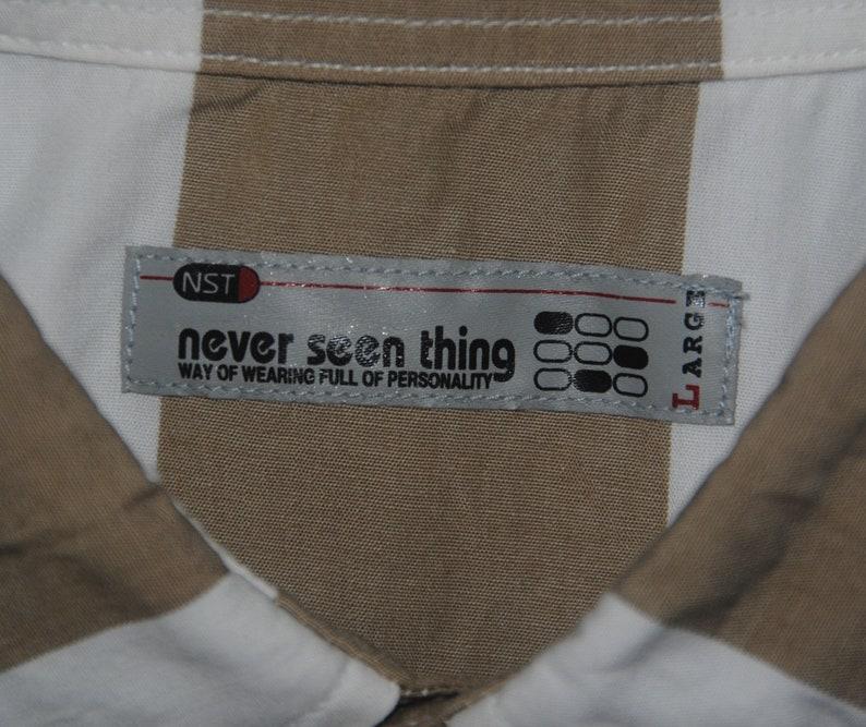 Vintage Never Seen Thing Japanese brand button up shirt size Medium  1990s Harajuku Stripe Border Print shirt  Streetwear Men/'s shirt