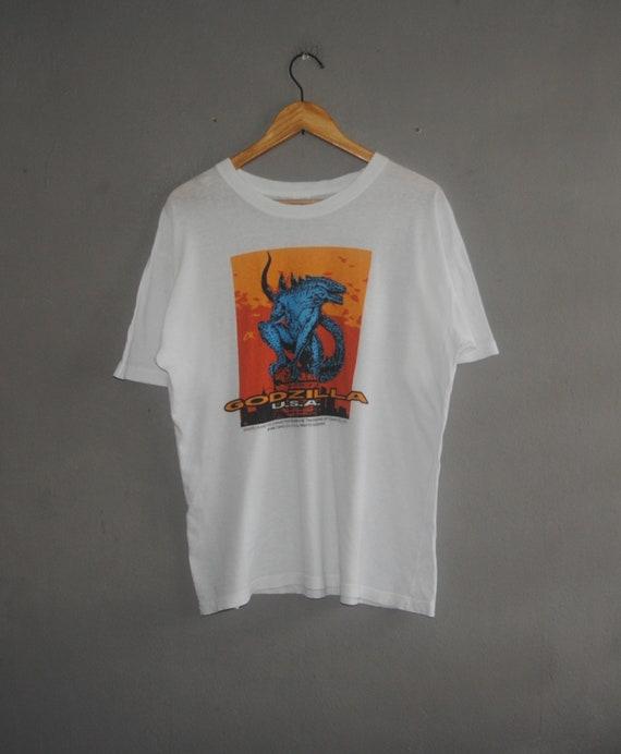Vintage 90s GODZILLA USA T-shirt graphic tee sci fi action Movie 1998 100/% cotton white colour streetwear size L