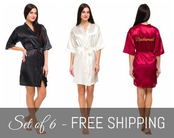 5a8c9b5836 Set of 6 Personalized Satin Bridesmaid Robes for Bridal Party with Names  Monograms or Titles Embroidered -- FREE WORLDWIDE SHIPPING