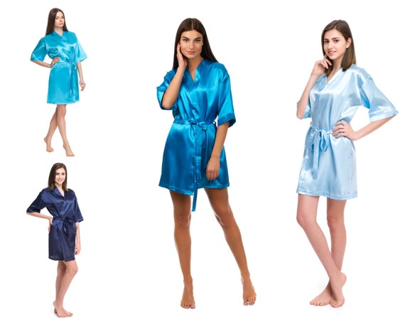 best selling good selling top-rated fashion Bridesmaid robes in Light Blue, Aqua Blue, Ocean Blue, Navy Blue | Wedding  Bridal party robe for Bride, Maid of Honor, Flower Girl