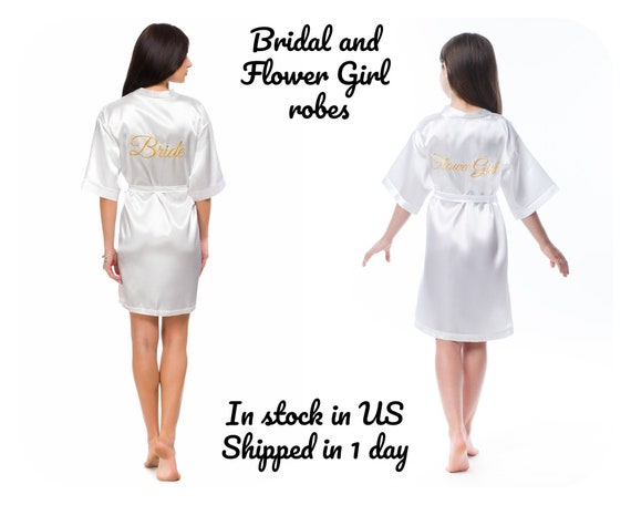 4bad364e0c Matching White or Ivory Bridal and Flower Girl robes Satin